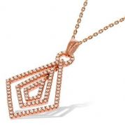 "18"" Rose gold plated sterling silver Cubic Zirconia Fancy J-Jaz Pendant and chain"
